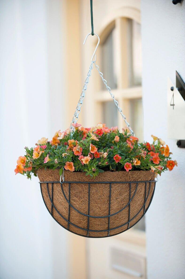 Gebruik inlegvel in hanging basket
