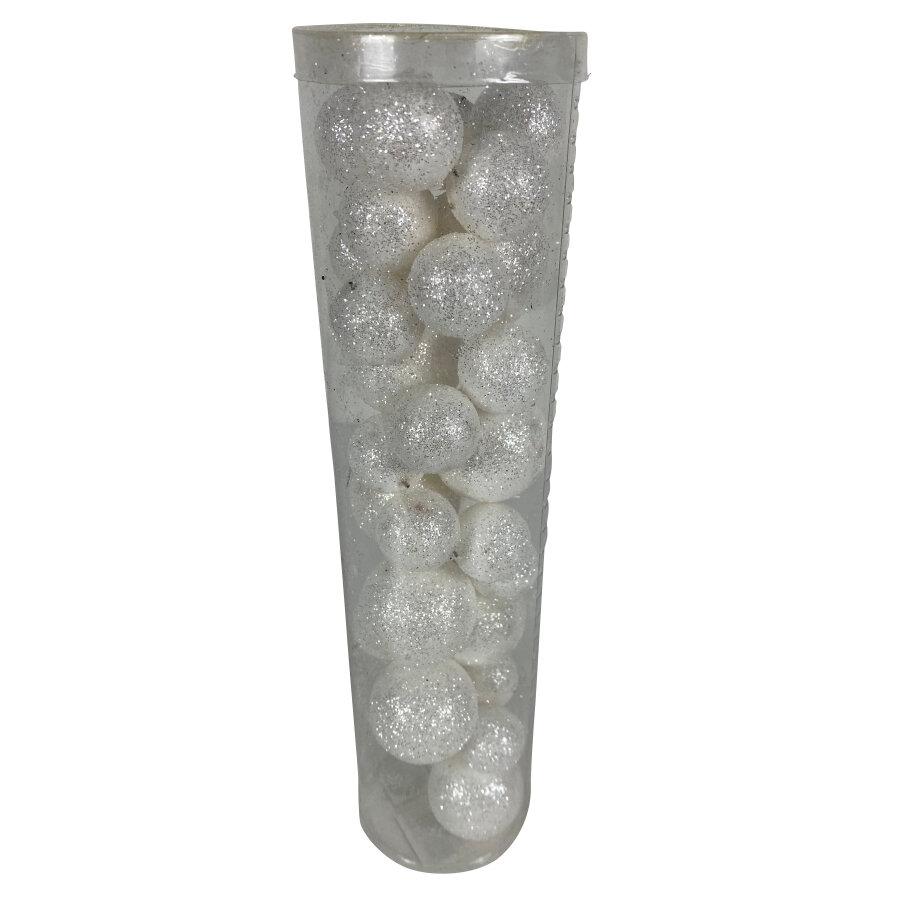 Glitterballen wit (30 stuks)