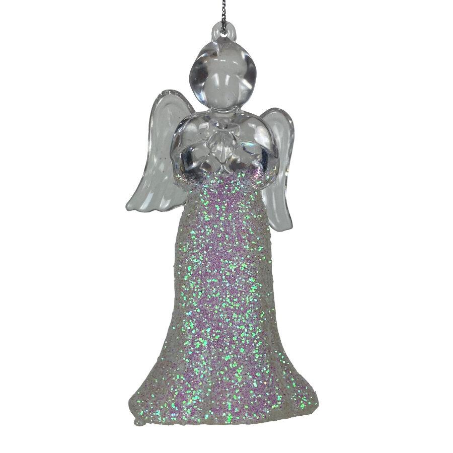Hangfiguur engel met glitters
