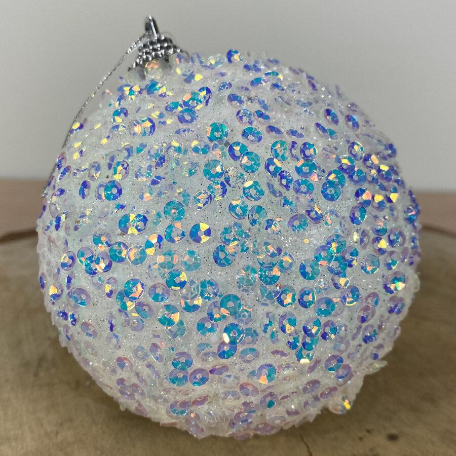 Kerstbal wit met glitter