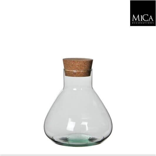 Mica Emily glazen vaas met kurk (H18 x D17 cm)