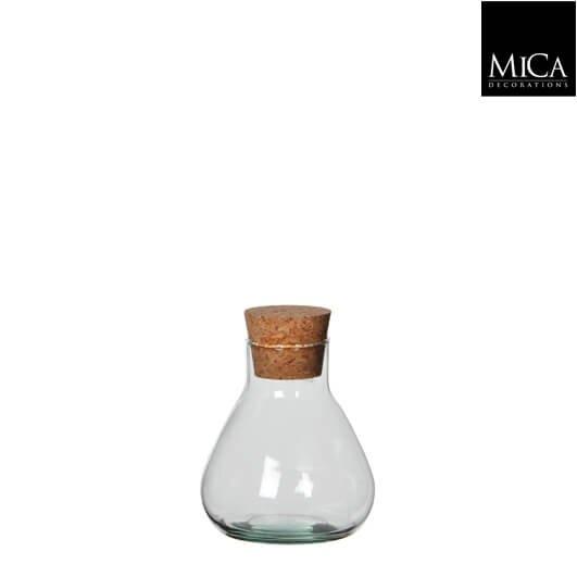 Mica Emily glazen vaas met kurk (H12 x D11 cm)