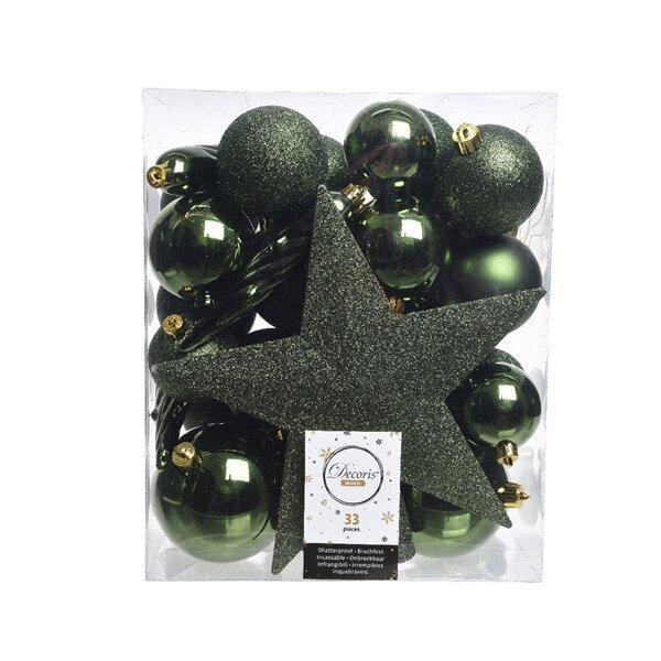 Onbreekbare kerstballen groen (33 stuks)