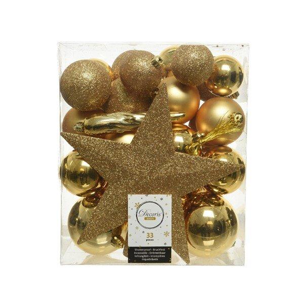 Onbreekbare kerstballen goud (33 stuks)