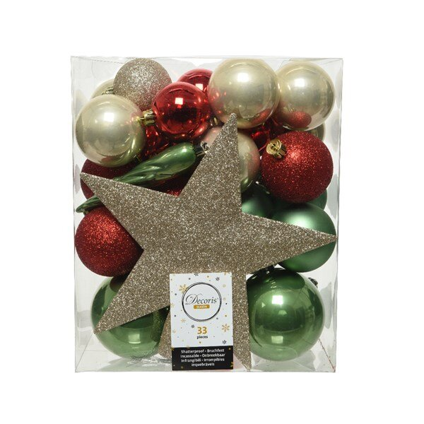 Onbreekbare kerstballen mix (33 stuks)