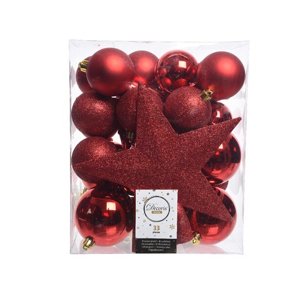 Onbreekbare kerstballen rood (33 stuks)