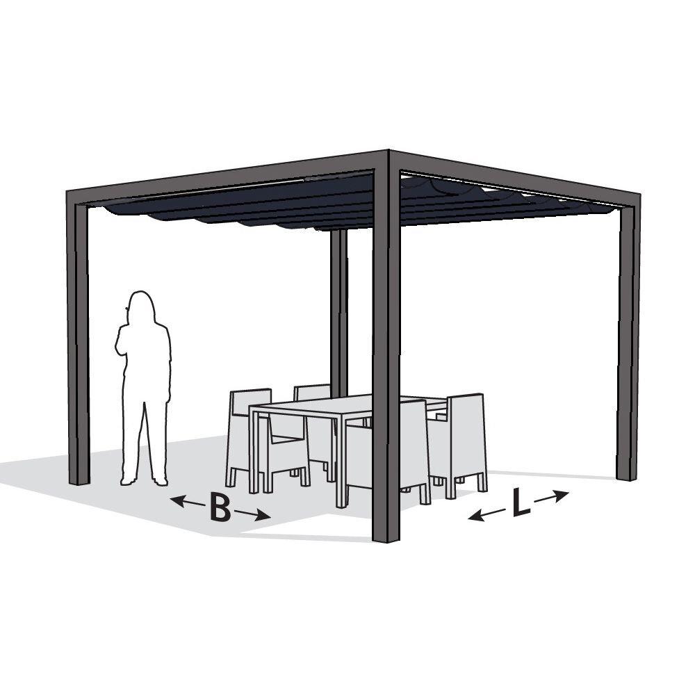 Pergola aluminium grijs 'Stand Alone' (4.02 x 4.02 meter)