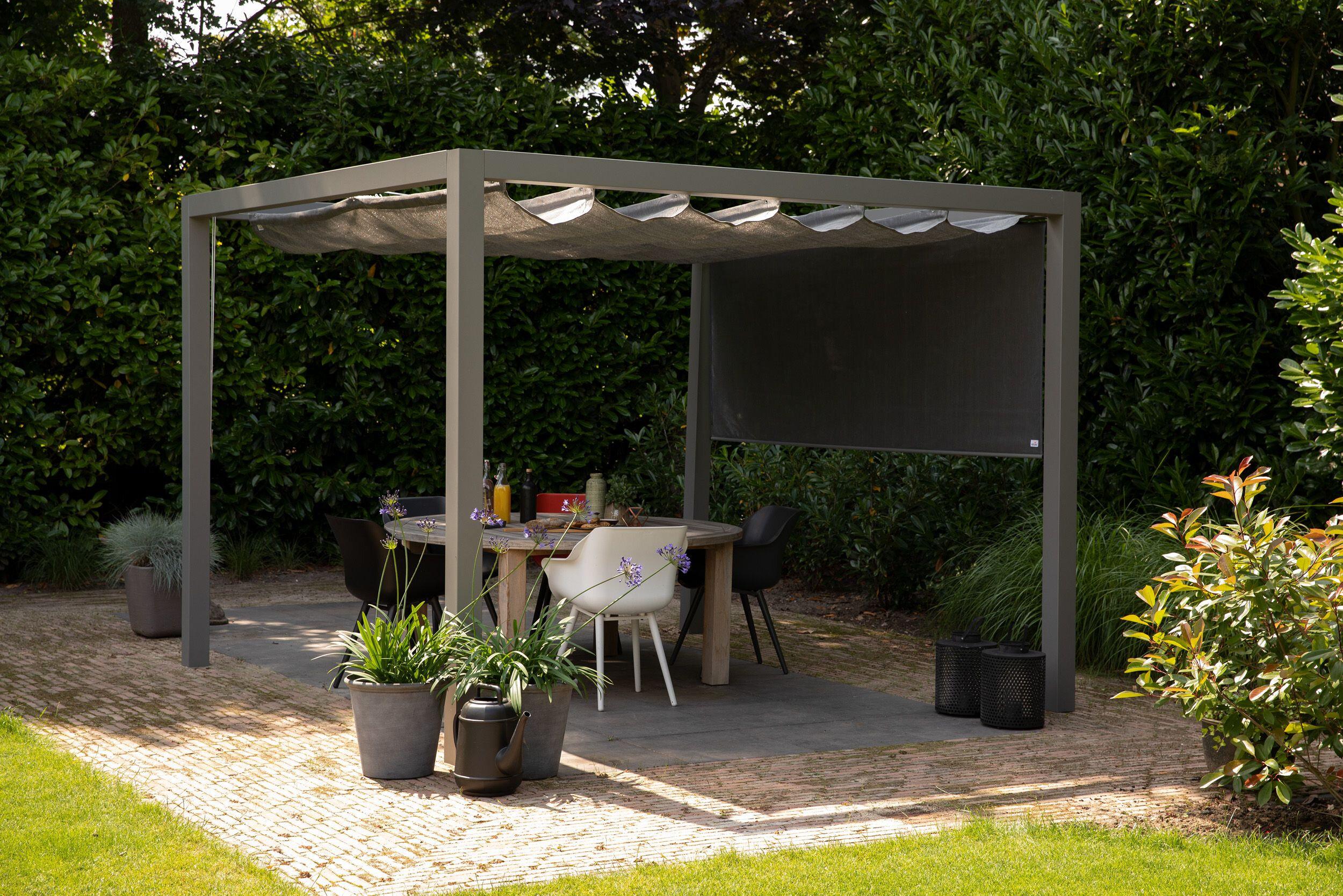 Pergola aluminium grijs 'Stand Alone' (3.19 x 4.19 meter)