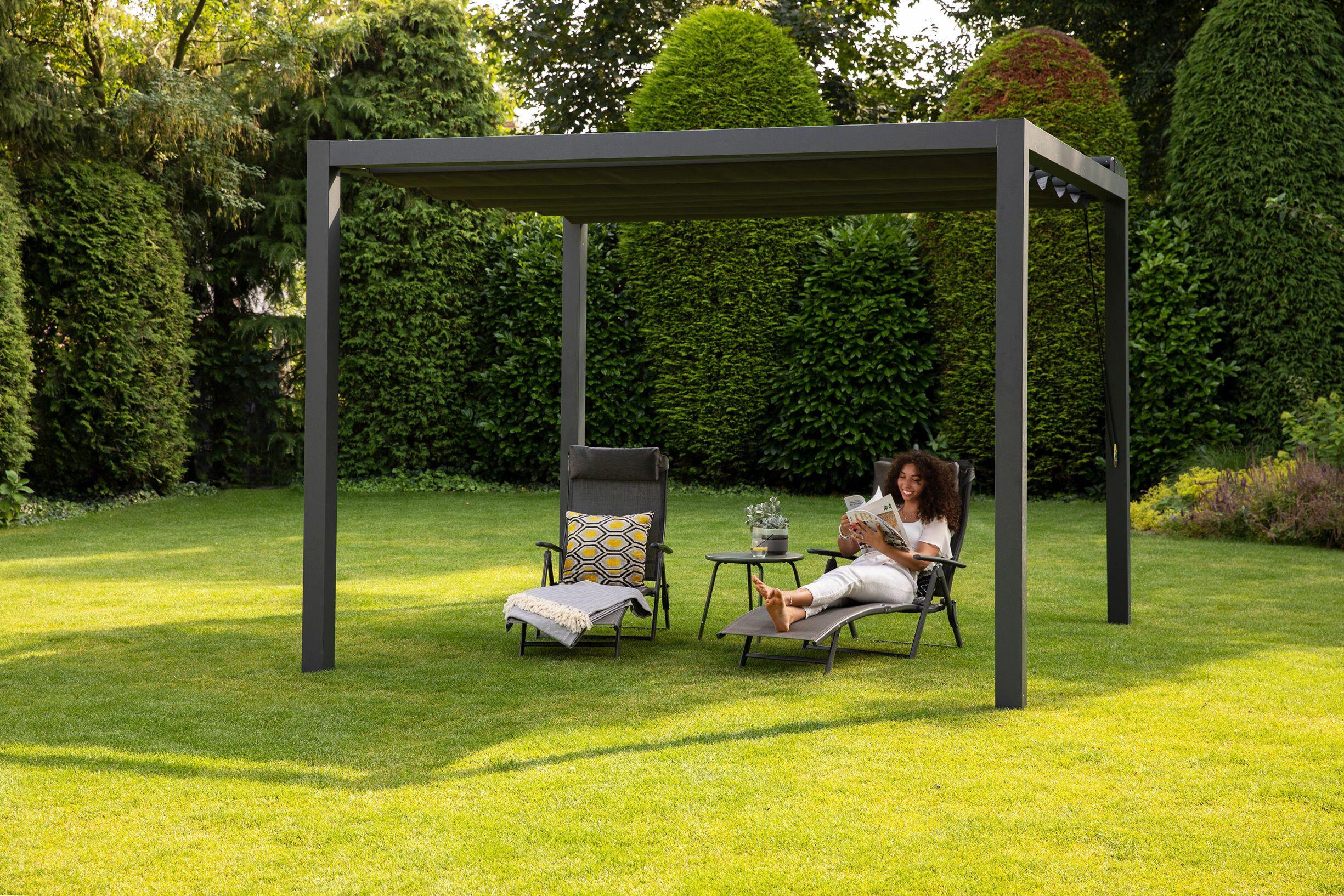 Pergola aluminium antraciet 'Stand Alone' 3,19 x 4,19 meter