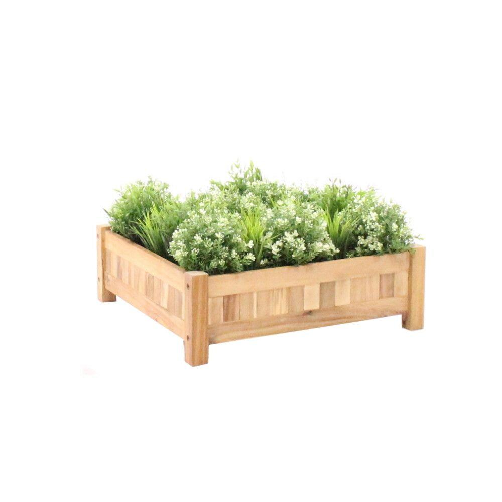 Planter hardhout vierkant (60 x 60 x 20 cm)